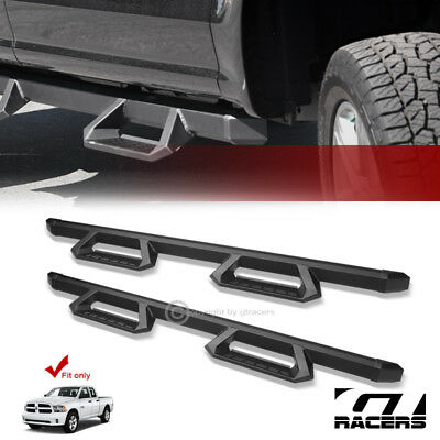 For 2009-2018 Ram 1500 Quad Cab Matte Blk Aluminum Hoop Drop Step Side Nerf Bars