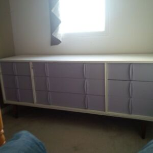 60's style Dresser painted with glass top, drawers work great Kitchener / Waterloo Kitchener Area image 1
