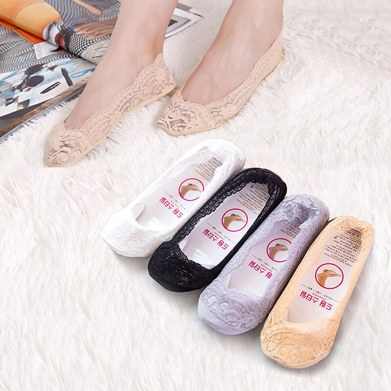Women Girls Invisible No Show Nonslip Loafer Lace Boat Liner Low Cut Cotton Socks