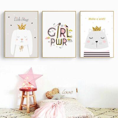 Kawaii Swan Rabbit Prints Canvas Poster Nursery Wall Art Print Baby Room Decor