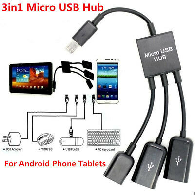 Dual Micro USB Host OTG Hub Cable  Adapter For Samsung Sony Android Phone Tablet