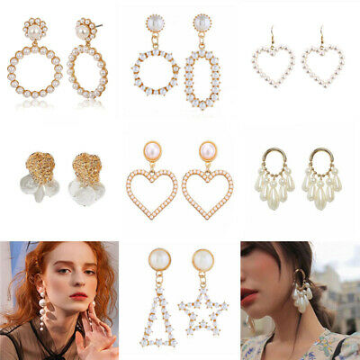 Boho Women Crystal Pearl Geometric Statement Drop Earrings Dangle Wedding Gifts Wedding Crystal Pearl