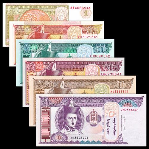 Mongolia Set 6 PCS, 1 5 10 20 50 100 Tugrik, Random Year, UNC