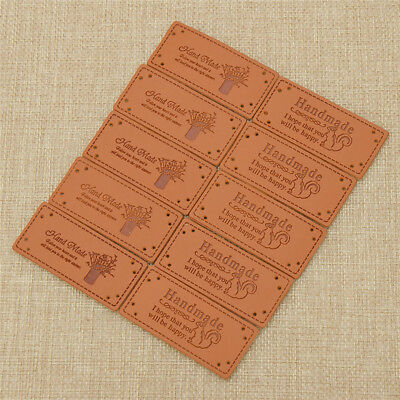 5pcs Synthetic PU Leather Tags DIY Handmade Sewing Labels Sew-on Patch Supply - 5 Handmade Tags
