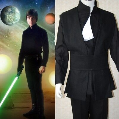 Star Wars Jedi Knight Luke Skywalker Black Coat Pant Halloween Cosplay Costume