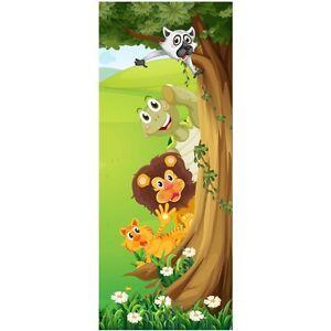 Papier peint porte enfant Animaux arbre 1729