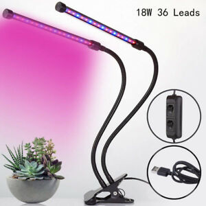 18W LED Grow Lights for Indoor Plants, Dual Head Led Grow Light