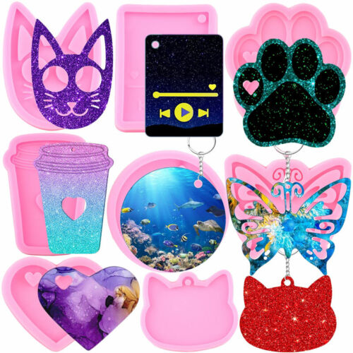 DIY Heart Circle Silicone Keychain Molds Butterfly Cat Pendant Epoxy Resin Mould