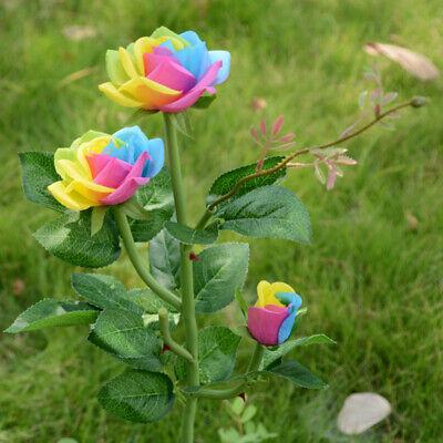 Outdoor Garden Yard Landscape Lamp Decor Solar Powered Rose Flower LED Light