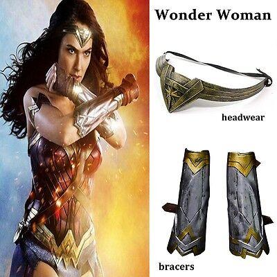 2017  Wonder Woman Diana Bracers Gauntlets Gloves Headwear headband Set Costume - Costumes For Womens 2017