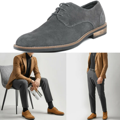 Mens Leather Suede Lace up Dress Formal Oxfords Casual Loafe