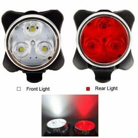SALE 20% (1795) NEW, USB Rechargeable FRONT REAR 3LED BIKE BICYCLE FLASHLIGHT/LIGHT WATER RESISTANT