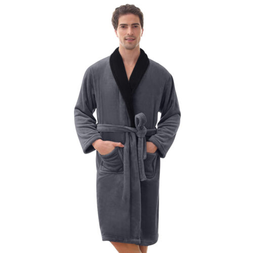Mens Robe -Bathrobe Coral Fleece Robe --Thick-VERY SOFT - **SALE** USA Seller !!