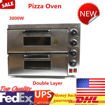 3kw Double Desk Commercial Electric Pizza Oven 16.9 In Pizza Maker Pizza Cooker