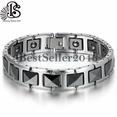 Tungsten Carbide Black Ceramic Link Health Energy Men Bracelet 7.8
