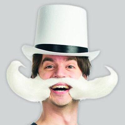 Weiß Schnurrbart Bart Lustig Rädelsführer Steampunk Erwachsene Kostüm - Weiß Schnurrbart Kostüm