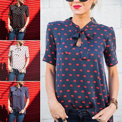 Short Sleeve Bow Tie - Women Ladies Casual Short Sleeve Bow tie Neck Bandage Tops Blouses Tops T-Shirt