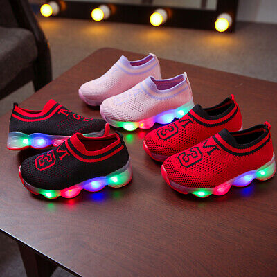 Kid Boys Girls LED Flashing Trainers Casual Sneakers Light Up Shoes Size 21-30