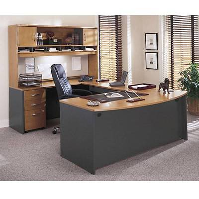 Executive Office Package - Executive Bow Front U Shaped Desk Package Natural Cherry finish