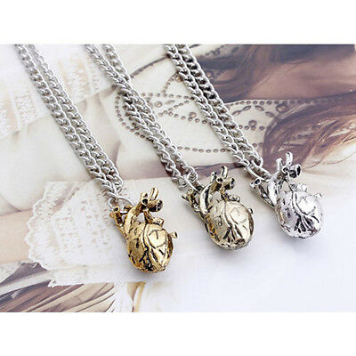 1Pc Retro Gothic 3D Anatomical Human Hollow Heart Pendant Necklace Sweater Chain