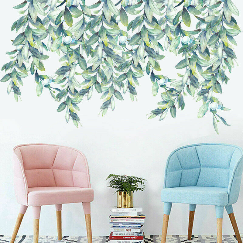 Home Decoration - Nursery Green Leaves Hanging Tree Foliage Home Removable Wall Stickers Decor AU