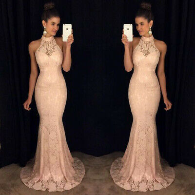 Neckholder Brautkleider (Brautjungfern Mermaid Neckholder Kleid Abendkleid Spitze Rosa Ballkleid BC661)