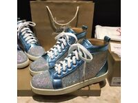 CHRISTIAN LOUBOUTIN Louis High-Top Trainers - Blue & Silver - Fully boxed
