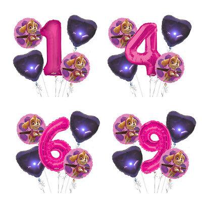 Paw Patrol Girl 1-9 Birthday Balloon Bouquet 5 pcs Girls Birthday Party