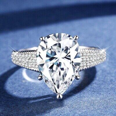 Ladies Brilliant 5ct Pear Cut Lab Diamond 18K White Gold Filled Engagement Ring