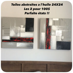 Ensemble de 2 Toiles abstraites Bouclair