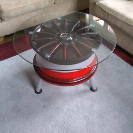 Alloy wheel coffee table
