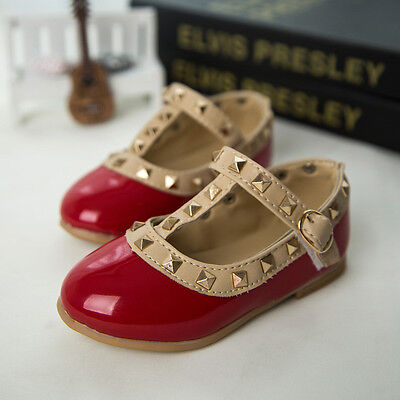 Princess Rivet Buckle T-strap Flat Shoes Gift  For Girls Kids Charming Sandals