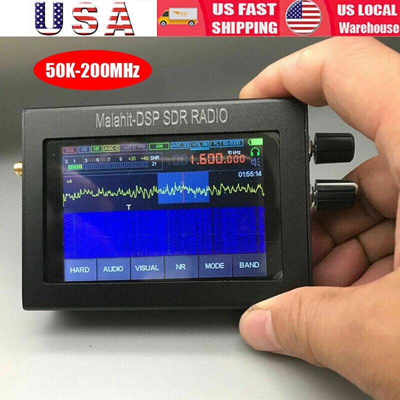 50K-200MHz Malachite SDR Radio Malahit DSP SDR Receiver+LCD+Battery+Speaker USA