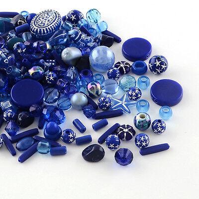 50g Acryl Chaostüte Dunkelblau Perlen verschiedene Acrylperlen Mix (1670)