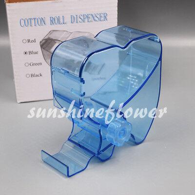 Dental Dentist Blue Cotton Roll Dispenser Holder Case Rotary Type See-through