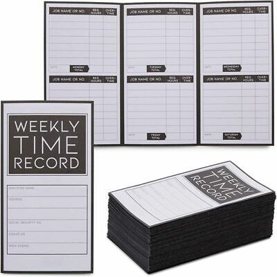 Weekly Trifold Employee Time Cards For Bookkeeping Pocket Sized 200 Pcs