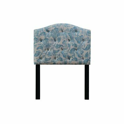 camelback upholstered twin panel headboard in blue