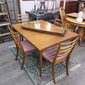 Mid Century Walnut Table and Chair Set