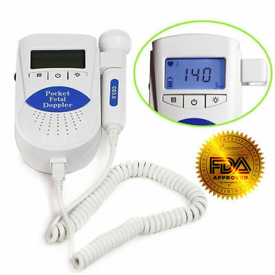 Fda Us Prenatal Fetal Doppler Baby Heart Beat Monitor 3mhz Probegel Batteries