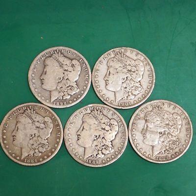 1878-1904 Morgan Silver Dollar Culls Pre-1921 Mix Dates Lot of 5 Coins 1921 Morgan Dollar Coin