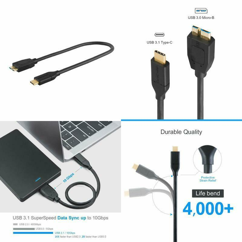 Usb C To Micro-B 3.0 , Cablecreation 1Ft Usb 3.1 Type C Cabl