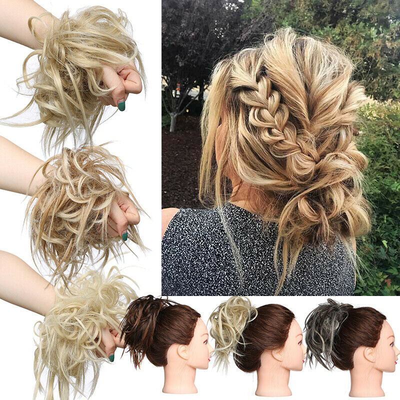 DE Brötchen Haargummi Hepburn Dutt Haarverlängerung Damen Scrunchie Bun Haarteil
