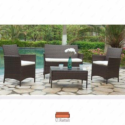 4PCS Outdoor Patio PE Rattan Wicker Table Shelf Sofa Furniture Set w/ Cushion