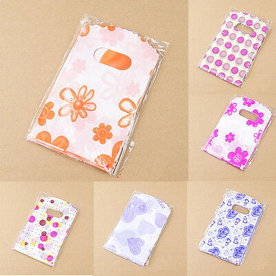 100 Pcs Wholesale Lot Pretty Mixed Pattern Plastic Gift Bag Shopping Bags - Plastic Gift Bags