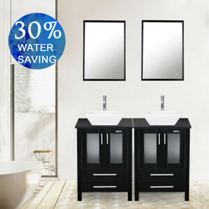 double sink vanity 48 inches. Black 48 Inch Double Sink Bathroom Vanity W Mirror White Ceramic Top Cabinet  EBay