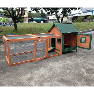 """PRO 72"""" Wood Chicken Coop Rabbit Hutch Small Animal Cage Duck Guinea Pig Ferret"""