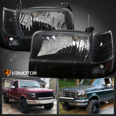 Black 92-96 Ford F150 F250 F350 Bronco Headlights+Parking Bumper+Corner Lamps