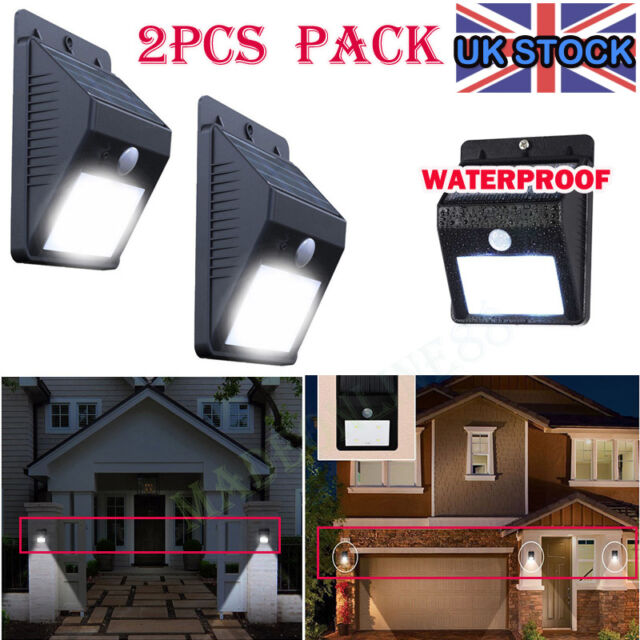 2X Solar Powered Bright Led Wireless PIR Motion Sensor Security Shed Wall Light