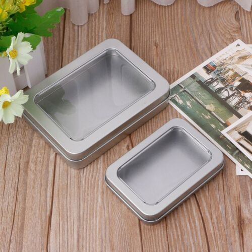 Clear Window Top Metal Tin Can Box Silver Blank Storage Case