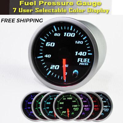 "Electric 0-140 Psi Fuel Pressure Gauge Chrome Face 2"" Diameter (1/8"" NPT)"